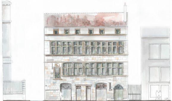 La façade Renaissance et son « mur rideau » donnant sur la rue Saint-Jean (Charlène Azé – RL&A)